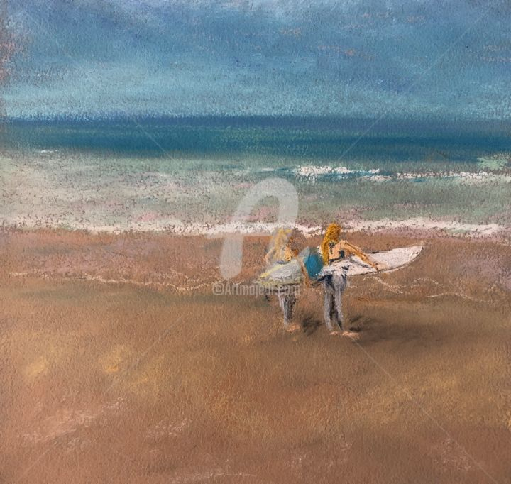 """Painting titled """"Guidel plage"""" by L.D, Original Art, Pastel"""