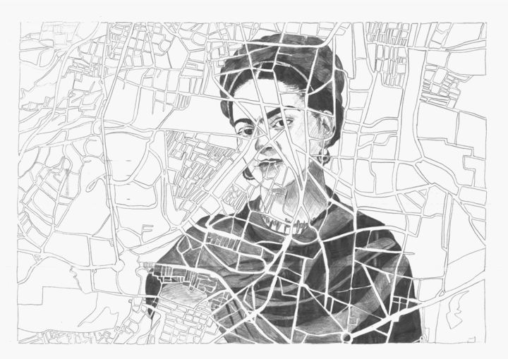 Kahlo - Drawing,  29.7x42x0.1 cm ©2019 by Laurine Massez -                                                                                            Illustration, Portraiture, Pop Culture / celebrity, World Culture, Places, Black and White, dessin, carte, portrait, artiste