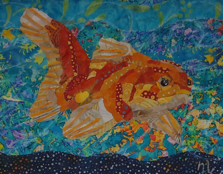 """Textile Art titled """"Petit poisson"""" by Nadine Lavoie, Original Art, Collages Mounted on Other rigid panel"""