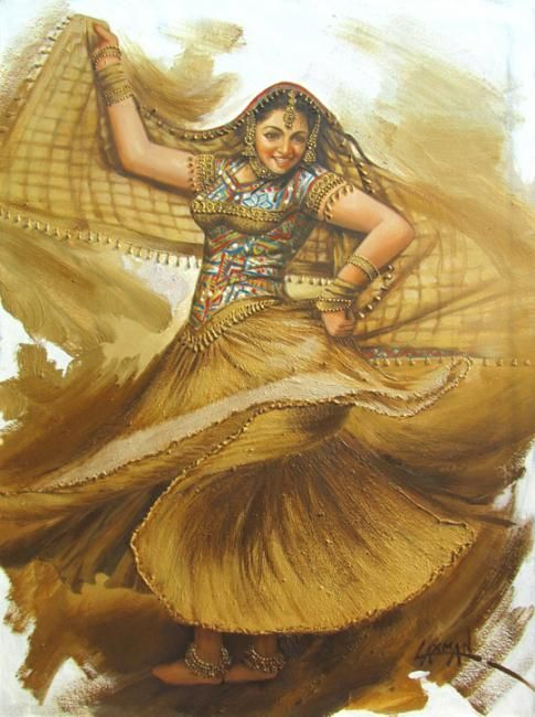euphoria 04 - Painting,  33x45 in ©2012 by Laxman Kumar Artist Delhi -                            Figurative Art, Laxman Kumar Artist, indian dance, rajasthan traditional dance, indian paintings