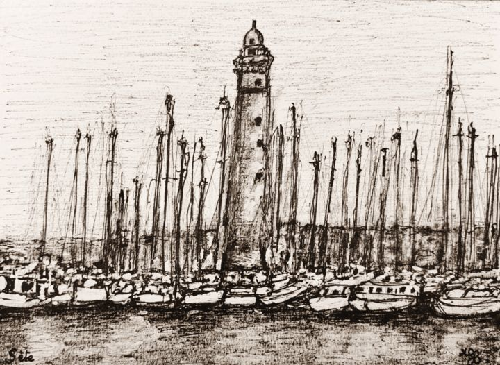 sete8 - Drawing,  5.5x7.5 in, ©2020 by Laydev -
