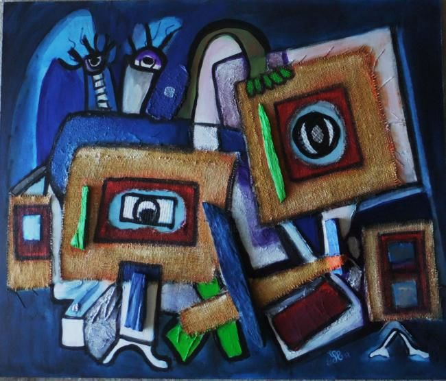 Blues in night - Painting,  19.7x24 in, ©2012 by LAYDEV -