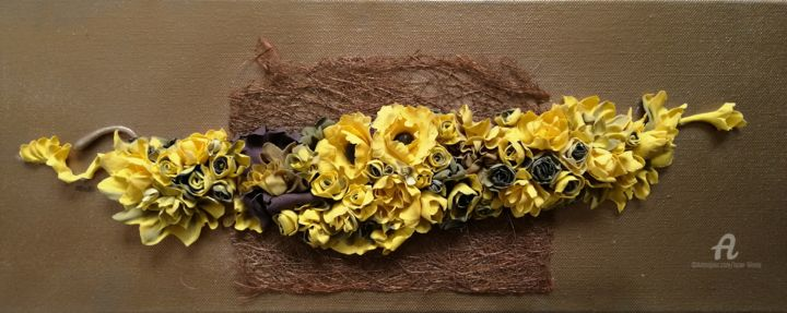 """Collages titled """"Fleurs 003"""" by Liliana Lazar, Original Art, Collages Mounted on Stretcher frame"""