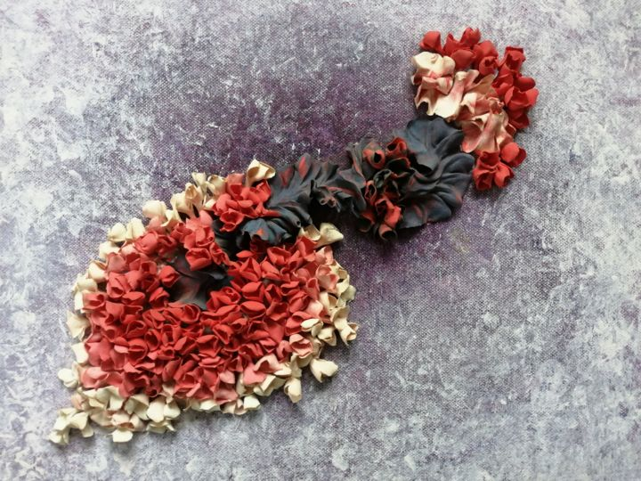 """Collages titled """"Fleurs 005"""" by Liliana Lazar, Original Art, Collages Mounted on Stretcher frame"""