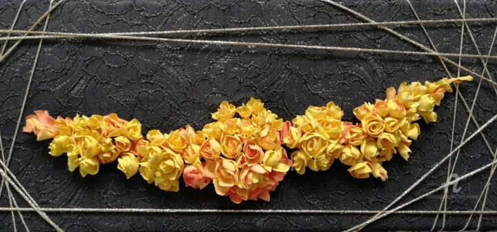 """Collages titled """"Fleurs 007"""" by Liliana Lazar, Original Art, Collages Mounted on Stretcher frame"""