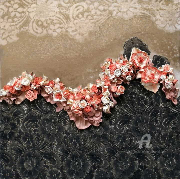 """Collages titled """"Fleurs 008"""" by Liliana Lazar, Original Art, Collages Mounted on Stretcher frame"""