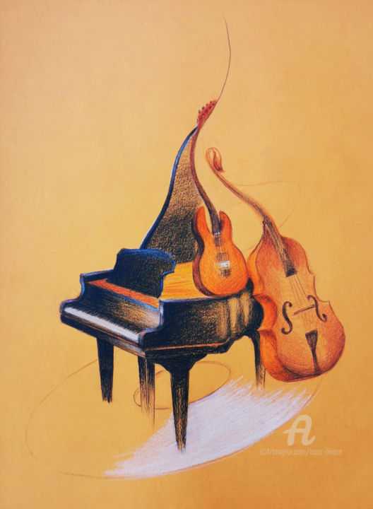 """Drawing titled """"La salle de musique"""" by Liliana Lazar, Original Art, Pastel Mounted on Other rigid panel"""