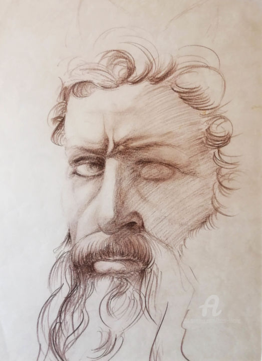 """Drawing titled """"Étude Moses (Michel…"""" by Liliana Lazar, Original Art, Charcoal"""