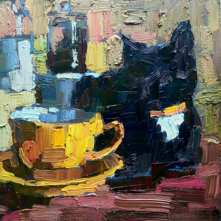 Black cat & yellow cup - Painting,  7.9x7.9x0.1 in ©2019 by Valerie Lazareva -                                                                                            Illustration, Impressionism, Animals, Cats, Food & Drink, Still life, cat art, art de chat, impressionism, impressionnisme, peinture à l'huile, peinture miniature, nature morte art, art, art animalier, chat noir, oil painting, miniature painting, still life art, animal art, black cat, coupe d'art, jaune, cup art, yellow