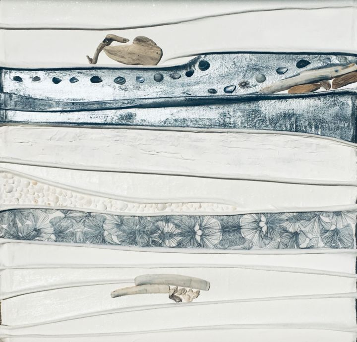 Sérénité - Painting,  27.6x27.6x1.2 in, ©2020 by Koki -                                                                                                                                                                                                                                                                                          eco construction, nature, mer, plage, ocean, coquillages