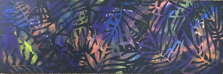 Kpalimé 5 - Painting,  15.8x47.2x0.4 in, ©2020 by Koki -                                                                                                                                                                                                                                                                                          exostisme, feuillages, vibrations, vegetal, Togo, forêt