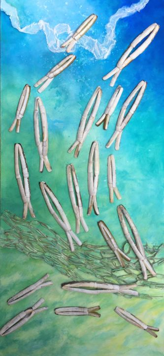 A L'UNISSON - Collages,  47.2x23.6x0.8 in, ©2020 by Koki -                                                                                                                                                                                                  poissons, ocean, mer, fond marin