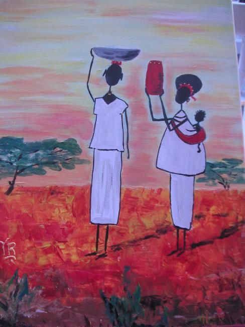 famille africaine - Painting,  15.8x11.8 in, ©2007 by Koki -                                                                                                          acrylique, famille africaine stylisée~~