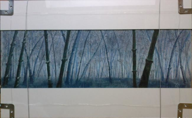 blue bambous - Drawing,  15.8x23.6 in, ©2007 by Koki -                                                                                                              Colors, tout en bleu la forêt de bambous! pastel sec