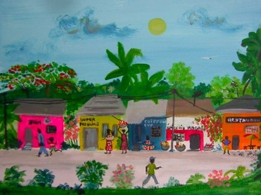 Afrique 1/3 : le quartier - Painting, ©2010 by Koki -                                                                                                                          Naive Art, naive-art-948