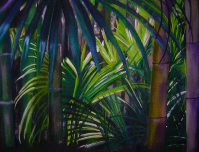 Dans la bambouseraie d'Anduze - Painting,  19.7x25.6 in, ©2010 by Koki -                                                                                                          vue dans la bambouseraie d'Anduze, pastel sec