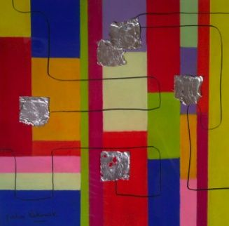 Tutti fruty - Painting,  17.7x17.7 in, ©2011 by Koki -                                                                                                                                                                          Abstract, abstract-570, pastel graphique  et feuilles d'or