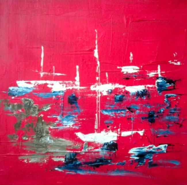 Essai - Painting,  9.8x9.8 in, ©2012 by Koki -                                                              Huile sur toile abstraite