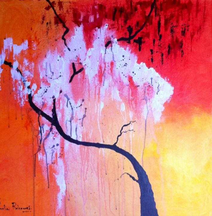 chinese-tree.jpg - Painting,  31.5x31.5x31.5 in, ©2013 by Koki -                                                                                                                                                                                                  soleil couchant, arbre, cerisier, arbre asiatique