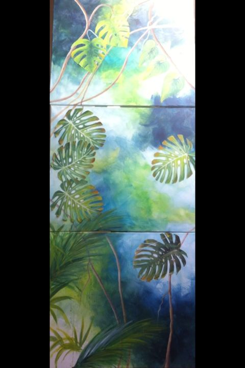 Ambiance tropicale - Painting,  67.3x25.6 in, ©2015 by Koki -                                                                                                          forêt, tropique