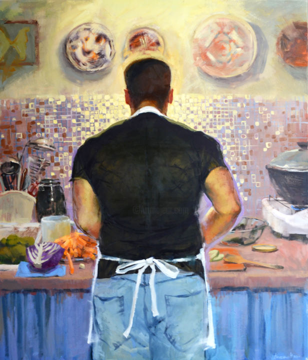 """Painting titled """"Great chef"""" by Nadia Boldina, Original Art, Oil"""