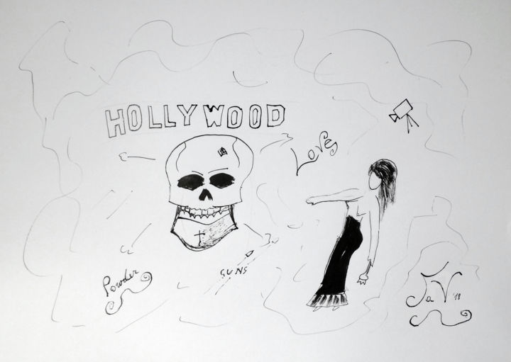 Hollywood Babylon - Drawing,  11.7x16.5 in, ©2018 by Aurelio Nicolazzo -                                                                                                                                                                                                                      Expressionism, expressionism-591, Celebrity, Cinema