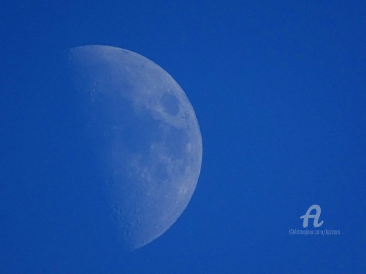 Moon in day - Photography, ©2019 by Aurelio Nicolazzo -                                                                                                                                                                                                                                                                                                                                                              Expressionism, expressionism-591, Aerial, Outer Space, Travel, Moon, Luna