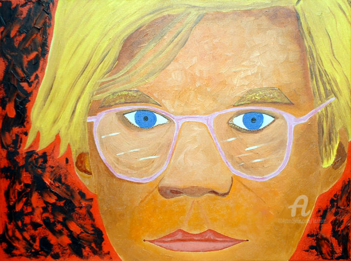 Andy Warhol Portrait - Painting,  23.6x31.5x0.8 in, ©2005 by Aurelio Nicolazzo -                                                                                                                                                                                                                                                                      Expressionism, expressionism-591, Portraits, Andy Warhol, Ritratto