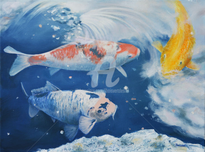 Golden Koi - Painting,  12x16x1.75 in ©2017 by Linda Boisvert DeStefanis -                                                            Realism, Canvas, Fish, Koi, fish, pond, reflections