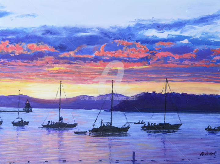 Sharing the View - Painting,  9x12x1.75 in ©2017 by Linda Boisvert DeStefanis -                                                            Realism, Aluminum, Water, water, Lake Champlain, Vermont, boats, sunseet