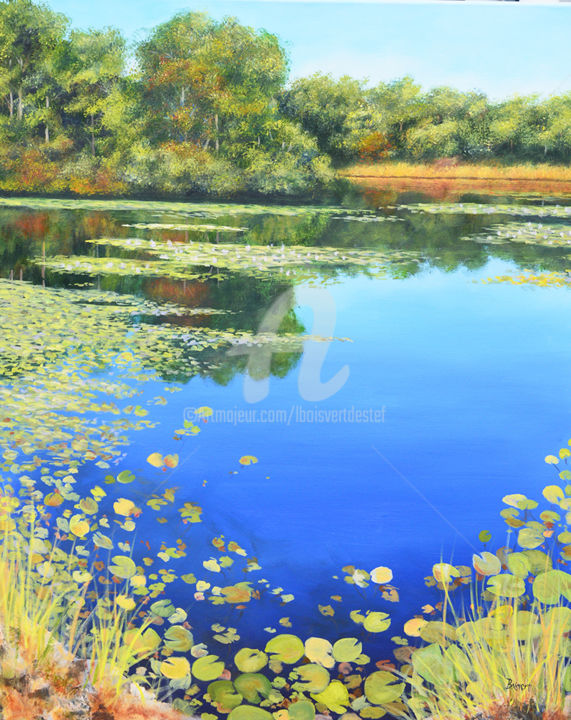 Reflections on a Pond (Diptich left side) - Painting,  36x30x3 in, ©2017 by Linda Boisvert DeStefanis -                                                                                                                                                                                                                                                                                                                                                                                                                                                                                                  Figurative, figurative-594, Water, pond, water, lillies, trees, lilly pads, No. Stonington, CT