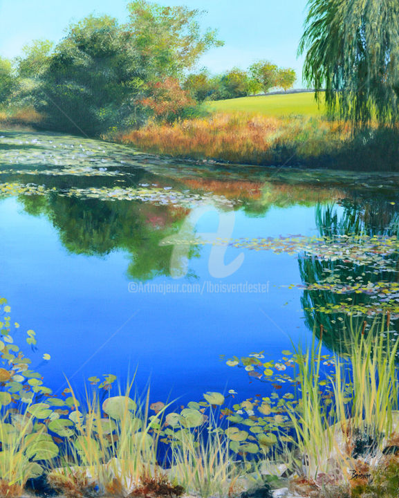 Reflections on a Pond (Diptich right side) - Painting,  36x30x2 in ©2017 by Linda Boisvert DeStefanis -                                                            Realism, Canvas, Water, pond, water, lillies, lilly pads, trees, hill, fall