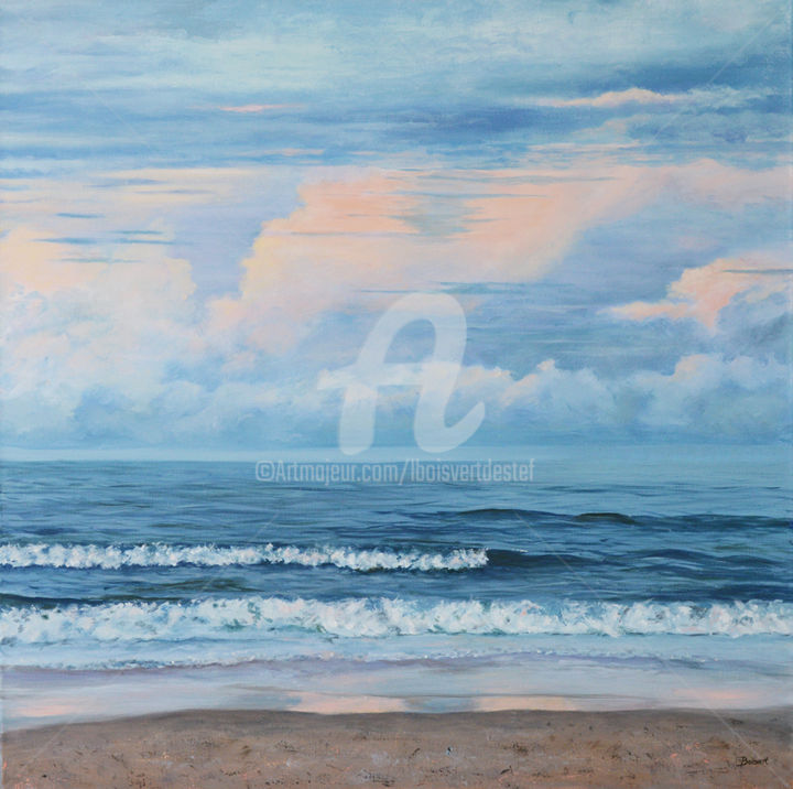 Ocean Blues - Painting,  30x30x1.75 in ©2017 by Linda Boisvert DeStefanis -                                                            Realism, Canvas, Water, East coast, Florida, Flagler Beach, beach, sky, clouds, waves