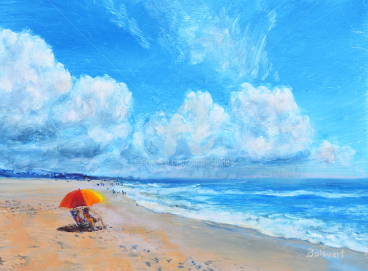 Beach Day - Painting,  6x8x1 in ©2017 by Linda Boisvert DeStefanis -                                                            Realism, Aluminum, Water, beach, day, clouds, blue, ocean, waves, ladies on the beach, relaxing