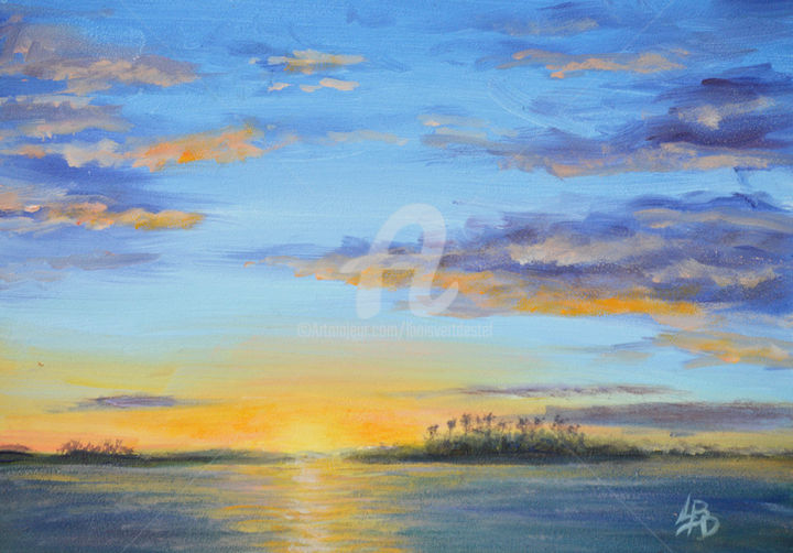 Sunset Over the Palms - Painting,  6x8x1 in ©2017 by Linda Boisvert DeStefanis -                                                            Realism, Canvas, Water, sunset, palms, bay, ocean