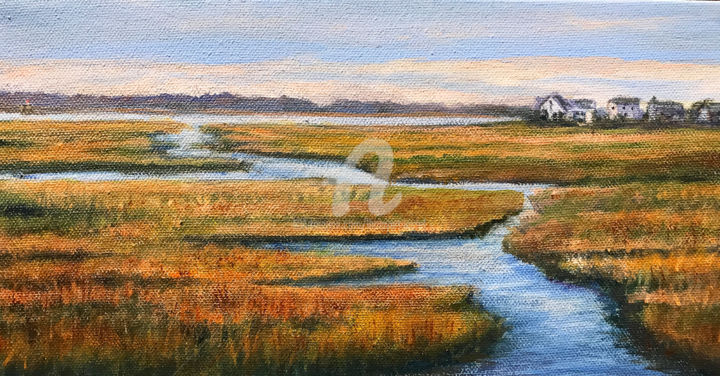 Marsh to Plum Island - Painting,  6x12x1.5 in ©2017 by Linda Boisvert DeStefanis -                                            Canvas, Landscape, Plum Island, Rhode Island, marshes, water