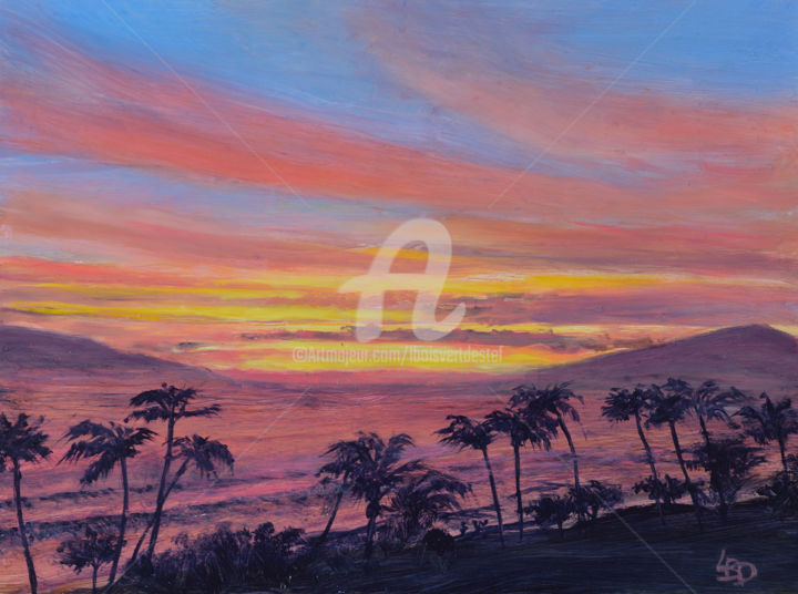 Maui Hot Sunset - Painting,  6x9x1.5 in, ©2018 by Linda Boisvert DeStefanis -                                                                                                                                                                                                                                                                                                                                                                                                                                                                                                                                                                                              Figurative, figurative-594, Aluminum, Water, Maui, hawaii, sunset, pink, purple, hot, waves, ocean