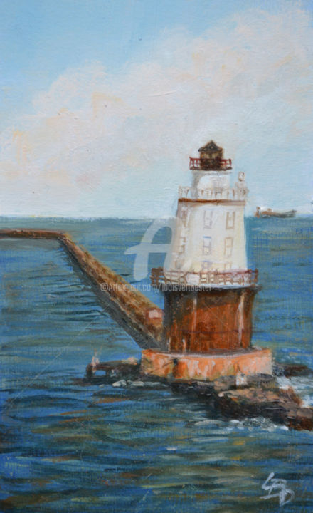 West Haven Lighthouse - Painting,  5x3 in ©2018 by Linda Boisvert DeStefanis -                                                            Realism, Other, Seascape, West Haven, CT, lighthouse