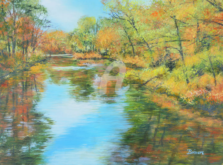 Autumn View - Painting,  9x12x1.8 in, ©2018 by Linda Boisvert Destefanis -                                                                                                                                                                                                                                                                                                                                                                                                                                                                                                      Expressionism, expressionism-591, Aluminum, Seasons, pond, trees, fall, colors, orange, water
