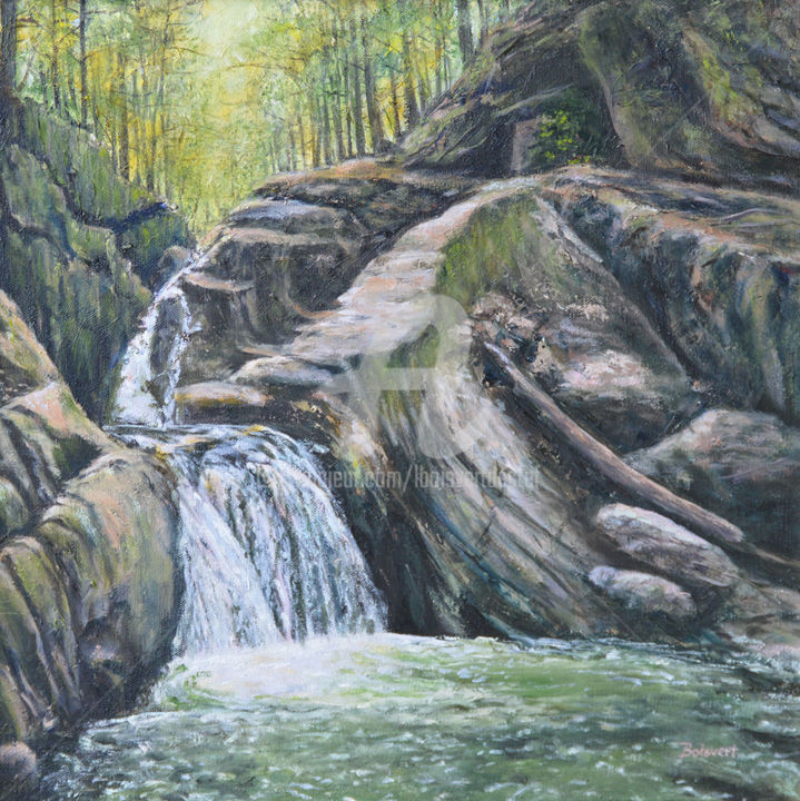 Hidden Gem - Painting,  16x16x1.5 in ©2018 by Linda Boisvert DeStefanis -                                                            Realism, Canvas, Landscape, waterfall, honey hollow falls, water, woods, trees, rocks
