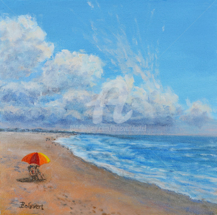Ocean View - Painting,  8x8x1.8 in, ©2018 by Linda Boisvert DeStefanis -                                                                                                                                                                                                                                                                                                                                                                                                                                                                                                  Figurative, figurative-594, Water, ocean, water, ladies, umbrella, clouds, storm, waves