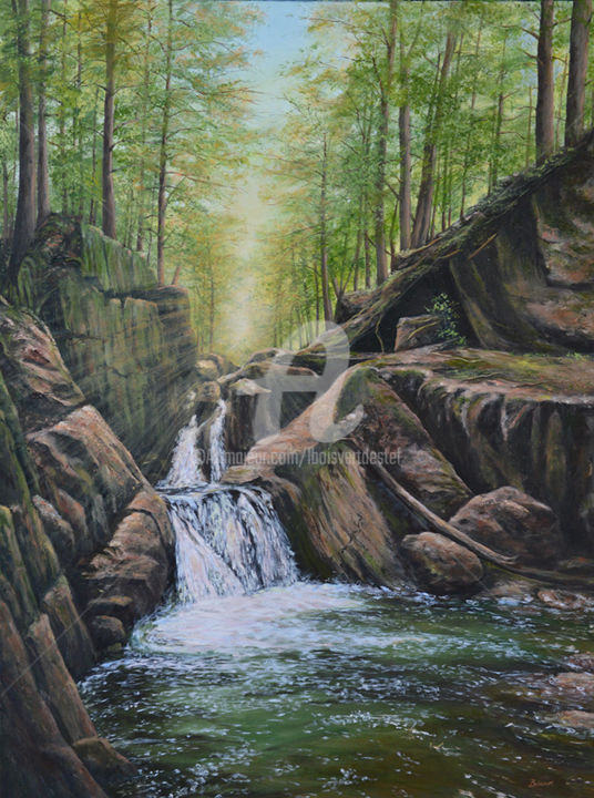 Hidden Gem II - Painting,  41x31x2 in, ©2018 by Linda Boisvert DeStefanis -                                                                                                                                                                                                                                                                                                                                                                                                          Figurative, figurative-594, Water, waterfall, Honey Hollows, Vermont, water, hike