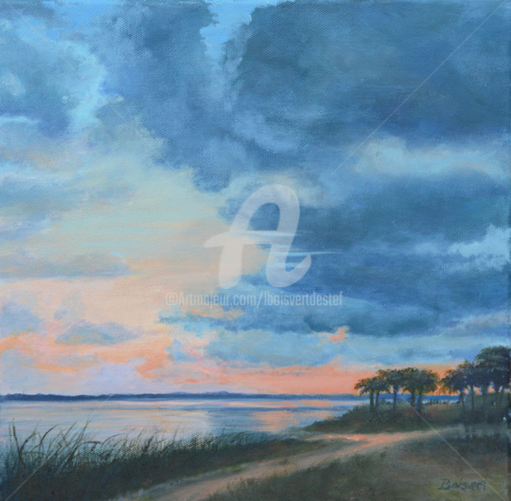 Last Light on Ponce Inlet - Painting,  12x12x0.8 in, ©2020 by Linda Boisvert Destefanis -                                                                                                                                                                                                                                                                                                                                                                                                                                                      Impressionism, impressionism-603, Water, Ponce Inlet, Florida, marsh, inlet, clouds, water
