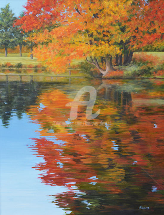 Golden Touch II - Painting,  30x24x1.5 in, ©2019 by Linda Boisvert Destefanis -                                                                                                                                                                                                                                                                                                                                                                                                                                                  Impressionism, impressionism-603, Mill Pond, water, reflection, fall, color, pond, tree