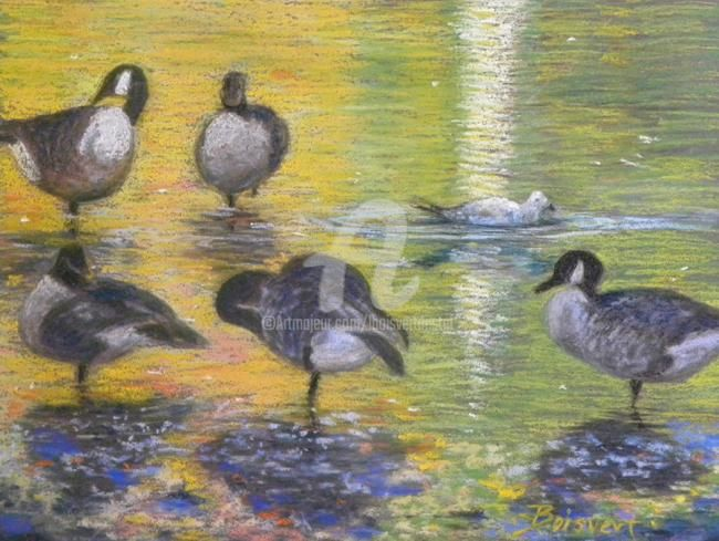 Just Passing Through Guys - Painting,  8.5x11 in ©2013 by Linda Boisvert DeStefanis -                            Realism, Canadian Geese on pond at Stanley Park in New Britain, CT-pastel