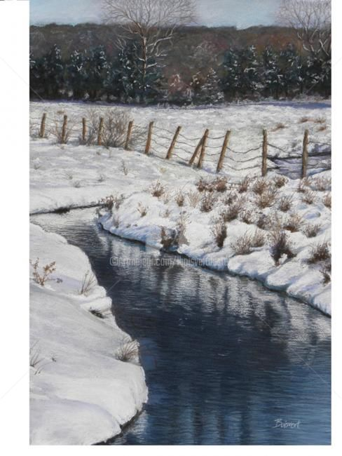 Winter Pastures - Painting,  26x18 in ©2012 by Linda Boisvert DeStefanis -                            Realism, Pastel painting Rocky Hill pastures