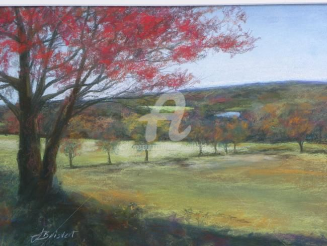 Litchfield Hills 1 - Painting,  9x12 in, ©2010 by Linda Boisvert Destefanis -                                                                                                                                                                                                                                                                                                                  Figurative, figurative-594, Seasons, Taken up in the Litchfield/Goshen area of CT - fall time, trees, fields