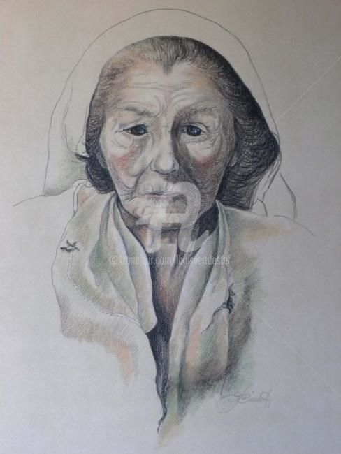 Polish Strength - Painting,  22x15 in ©1979 by Linda Boisvert DeStefanis -                            Realism, Charcoal and pastel on paper- Old Polish Woman