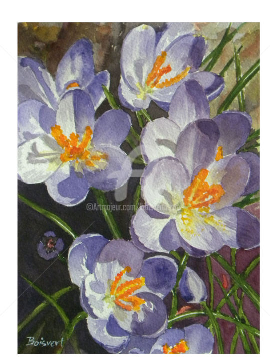 """Awake to the Sun"" - Painting,  14x11.5 in ©2013 by Linda Boisvert DeStefanis -                                            Realism, Flower, Crocus, flowers, spring"
