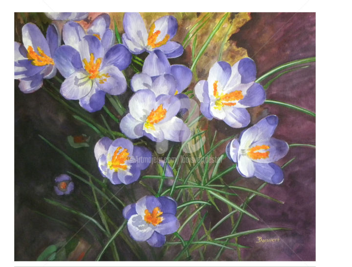 """Spring Awakening"" - Painting,  28.5x30.5 in, ©2013 by Linda Boisvert Destefanis -                                                                                                                                                                                                                                                                                                                                                              Figurative, figurative-594, Flower, watercolor, spring, crocus, flowers"